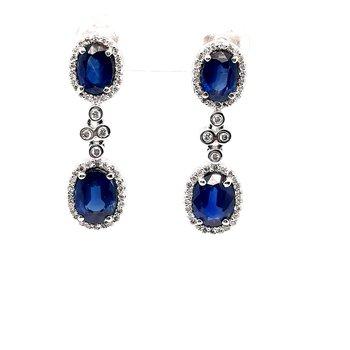 14K Wg 4.75Ctw Sapphire & 0.49Ctw Diamond Dangle Earrings