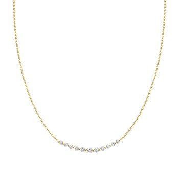 Medium Diamond Curved Bar Necklace