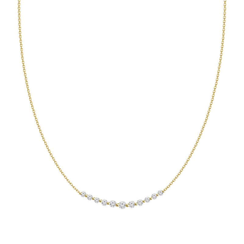Medium Diamond Curved Bar Necklace