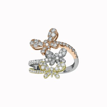 Triple Butterfly Diamond Ring