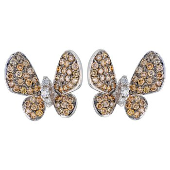 Fancy Brown Diamond Butterfly Earrings