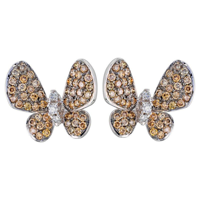 Fancy Brown Diamond Butterfly Earrings