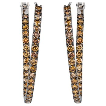 Fancy Brown Diamond Hoop Earrings