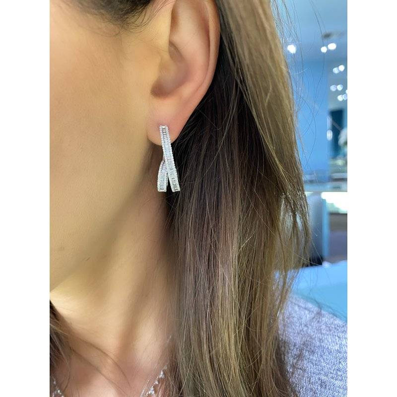 Baguette and Round Coil Earrings