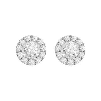 Small Diamond Halo Stud Earrings