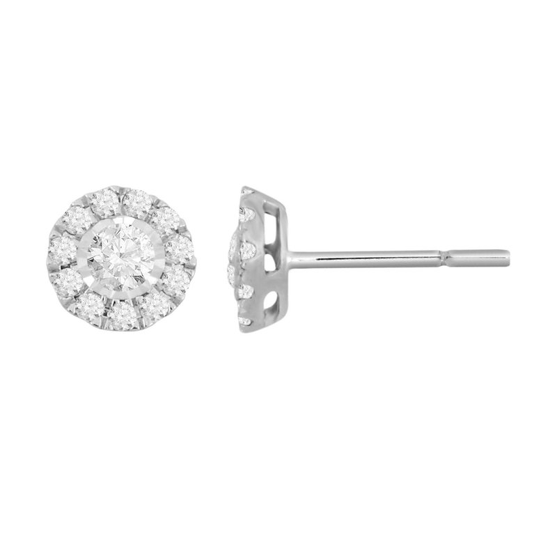 Small Diamond Halo Stud Earrings