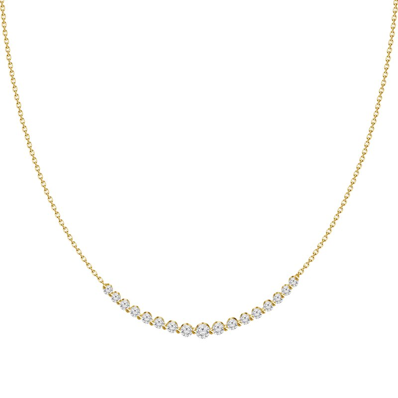 Large Diamond Curved Bar Necklace