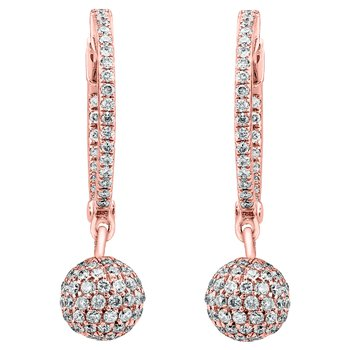 Diamond Huggie Earrings with Disco Drop