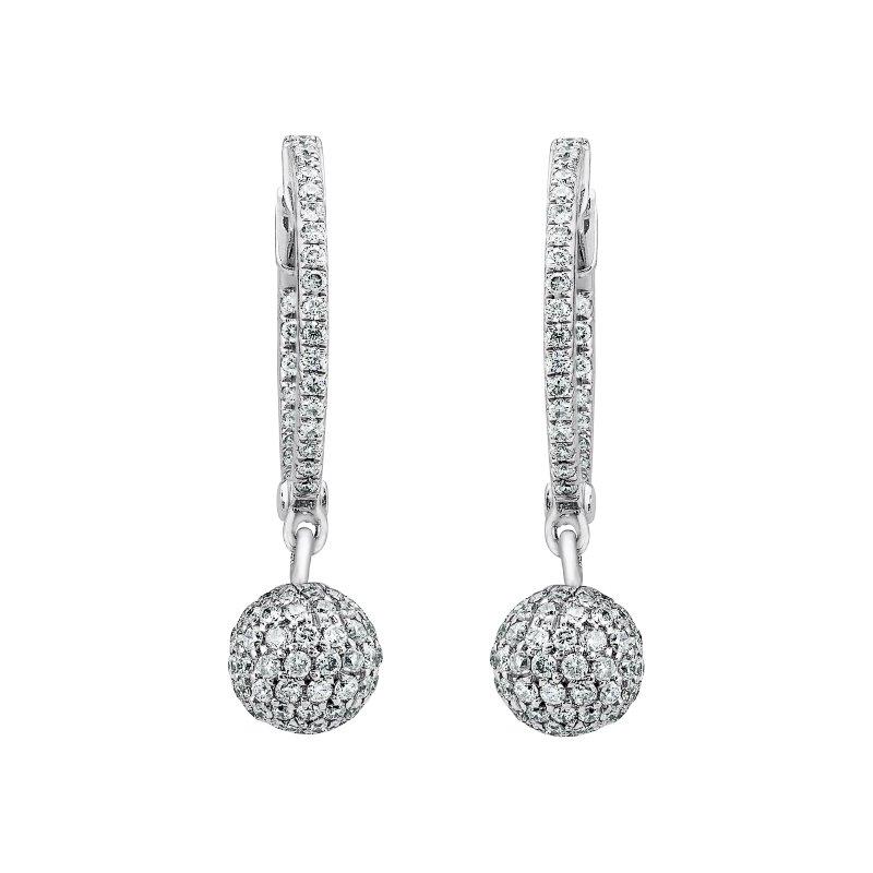 Diamond Huggie Earrings with Disco Drop