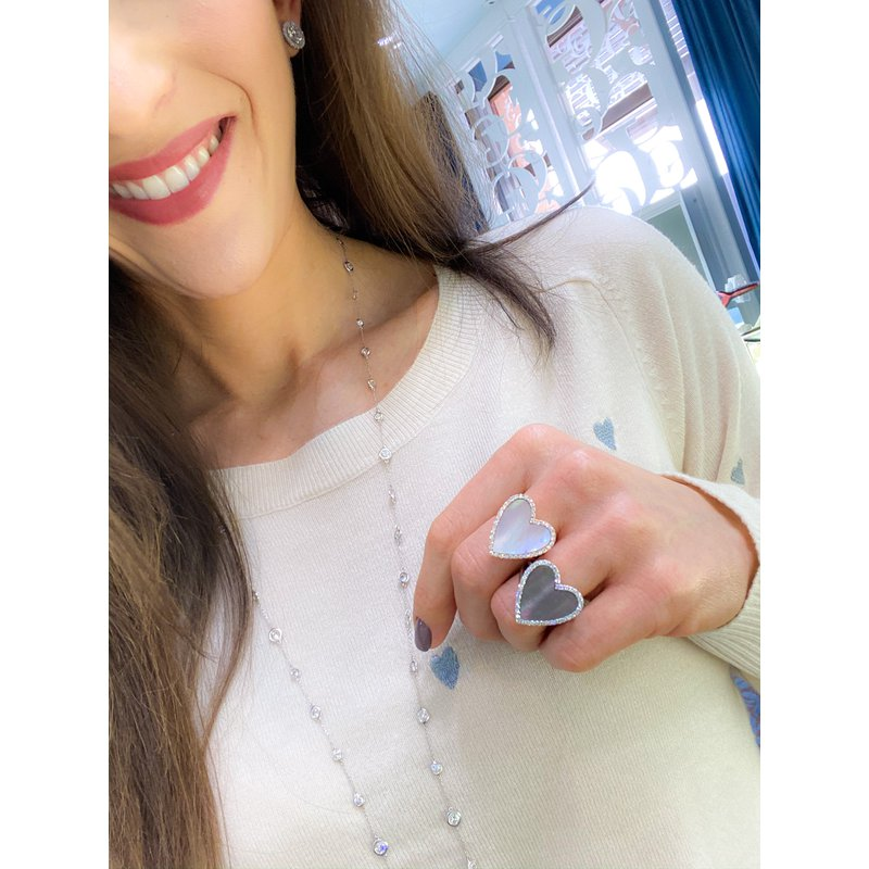 Diamond and Shell Heart Ring
