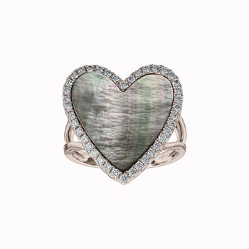 Diamond and Shell Heart Ring