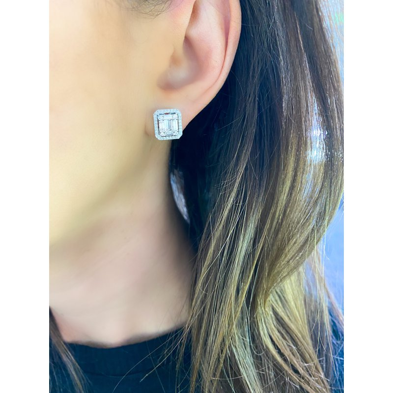 Baguette and Round Cushion Stud Earrings