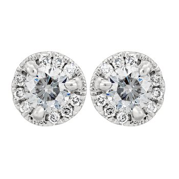 Petite Diamond Halo Stud Earrings