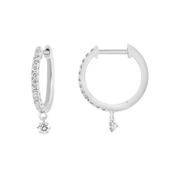 Huggie Earrings with Little Drop Diamonds