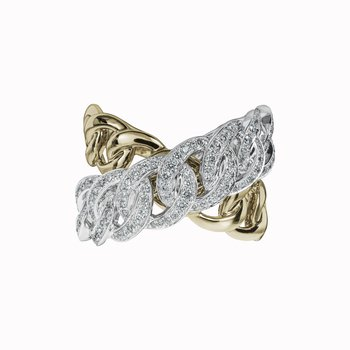 Diamond Link Cross-Over Ring