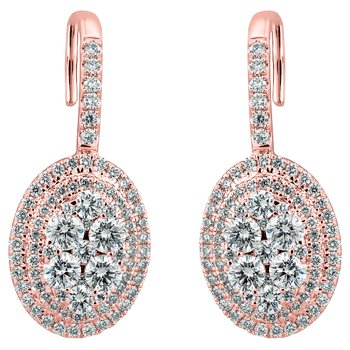 Oval Cluster Drop Earrings