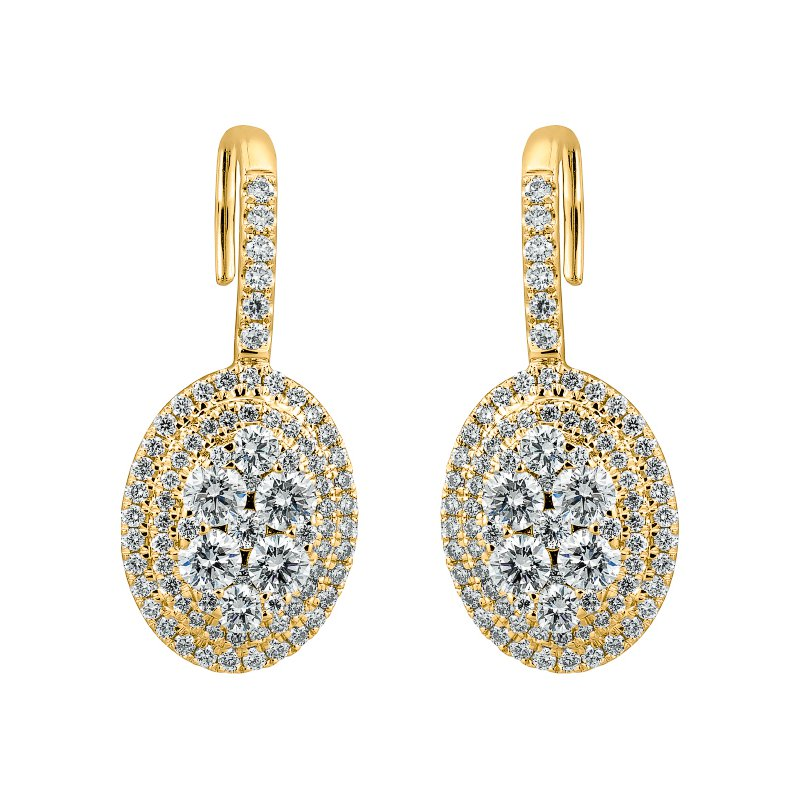 Oval Cluster Drop Earrings
