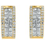 Princess Cut and Round Diamond Huggie Earrings