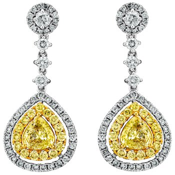 Fancy Yellow and White Diamond Drop Earrings