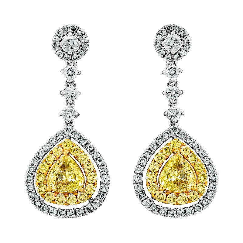 Fancy Yellow and White Diamond Drop Earrings