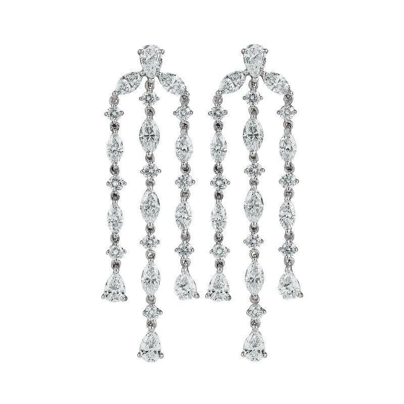 Multi-Diamond Shape Chandelier Earrings