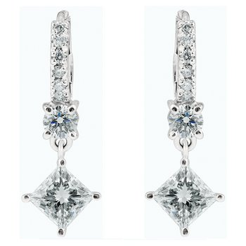 Dangling Princess Cut Diamond Earrings