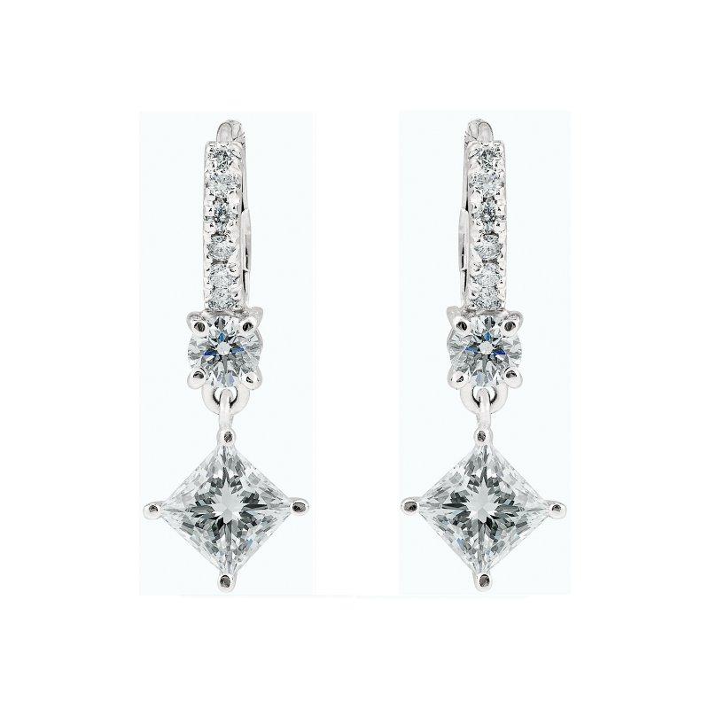 Dangling Princess Cut Diamond Earrings