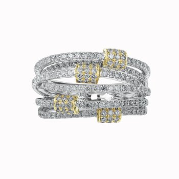 Six Row Diamond Orbit Ring