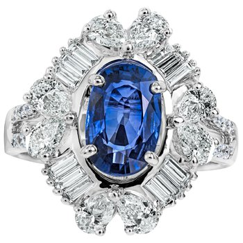 Sapphire and Diamond Burst Ring
