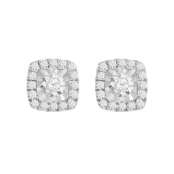 Cushion Shaped Halo Stud Earrings