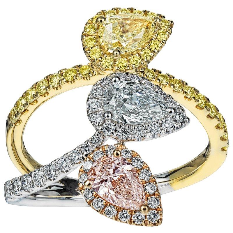 Triple Diamond Pear Shape Ring