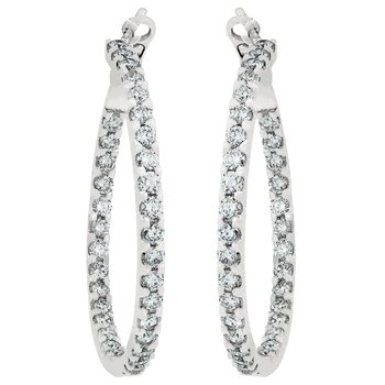 Classic Round Diamond Hoops