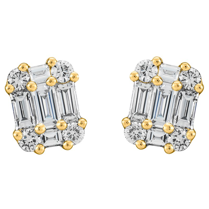 Baguette and Round Stud Earrings