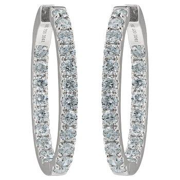 32 mm Oval Diamond Hoop Earrings