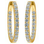 32 mm Oval Diamond Hoop Earrings
