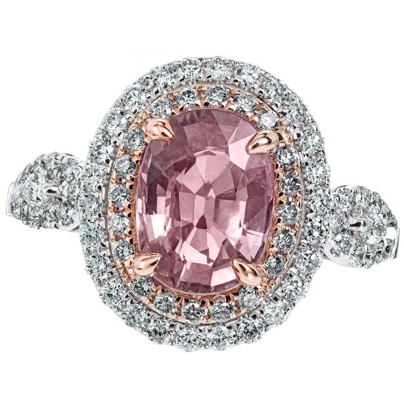 Diamond and Padparadscha Sapphire Ring