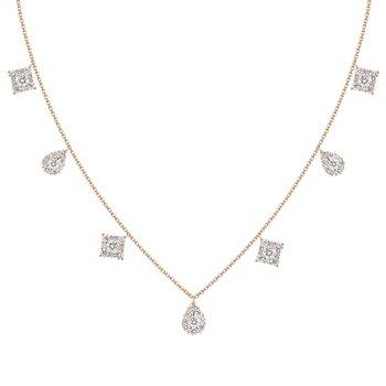 Mixed Shapes Raindrop Necklace