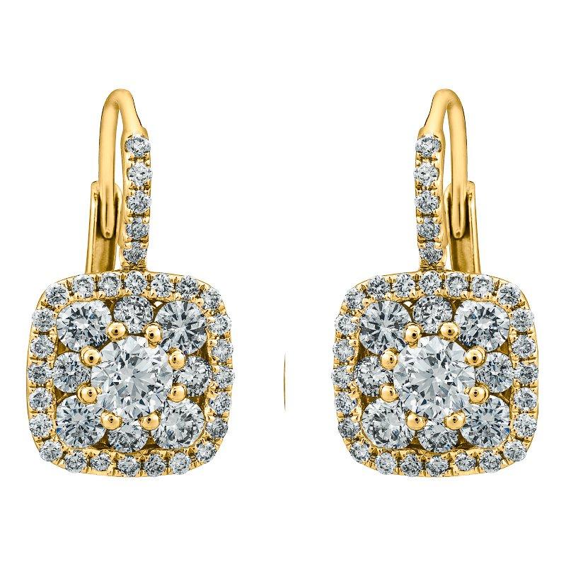 Cushion Cluster Drop Earrings