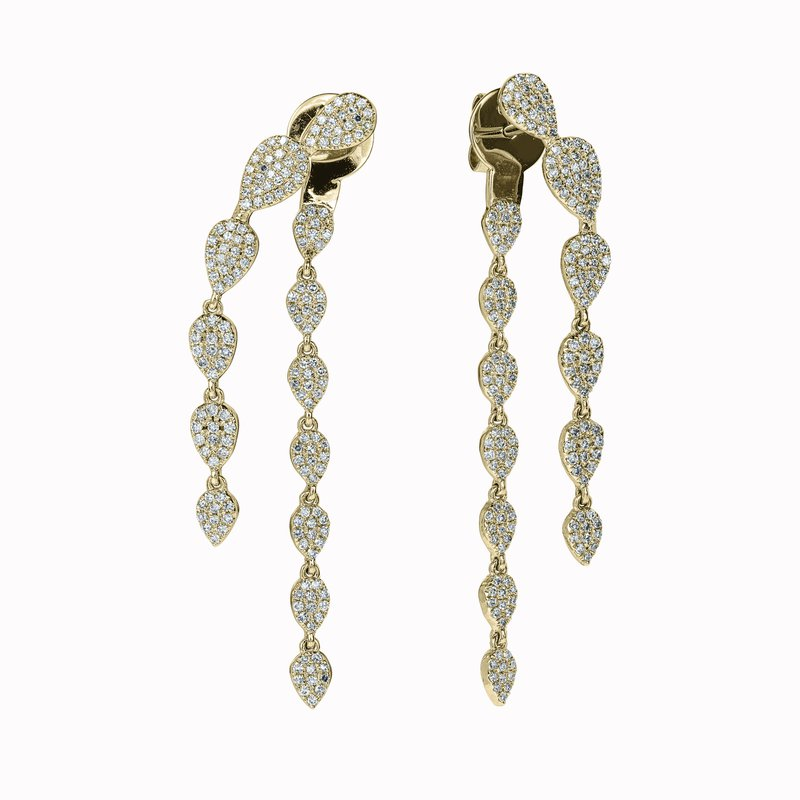 Diamond Leaf Dangle Earrings