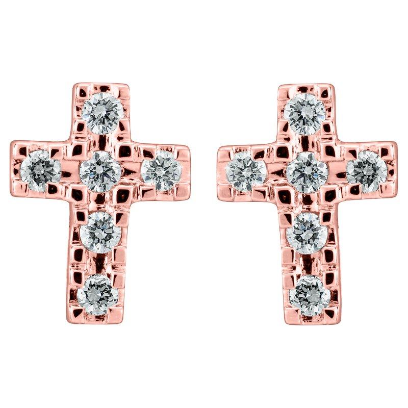 Diamond Cross Stud Earrings