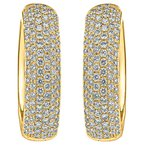 Wide Oval Pave Hoop Earrings