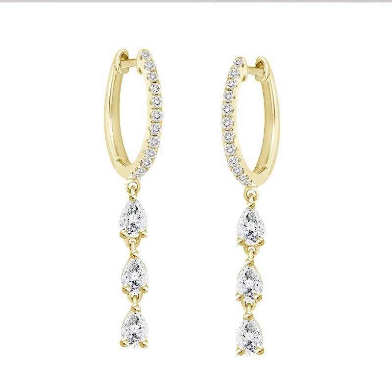 Pear Shape Dangle Huggie Earrings