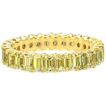 Emerald Cut Fancy Yellow Diamond Eternity Band
