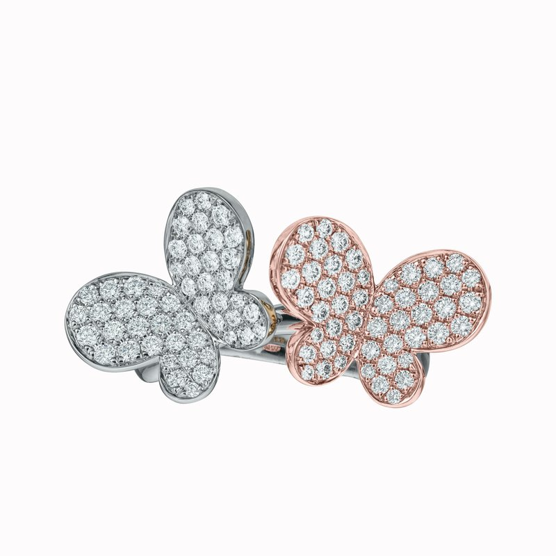 Double Diamond Butterfly Ring