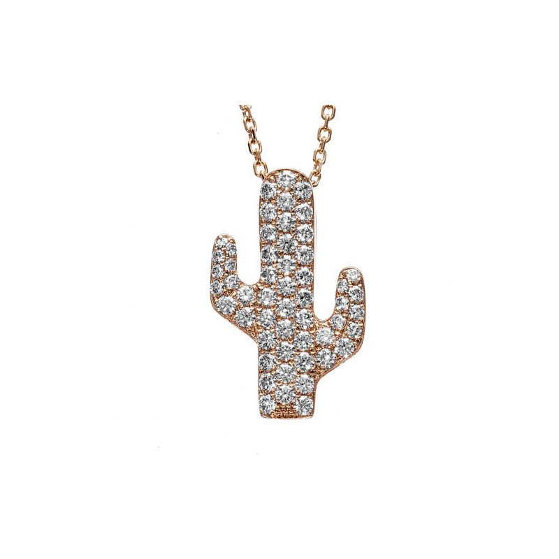 Small Diamond Cactus Pendant