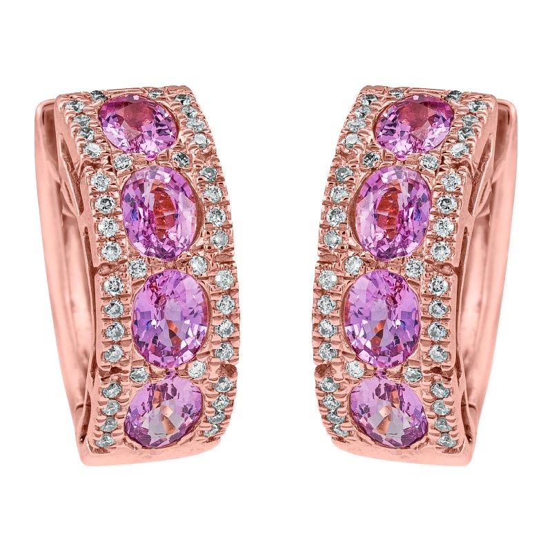 Pink Sapphire and Diamond Huggies