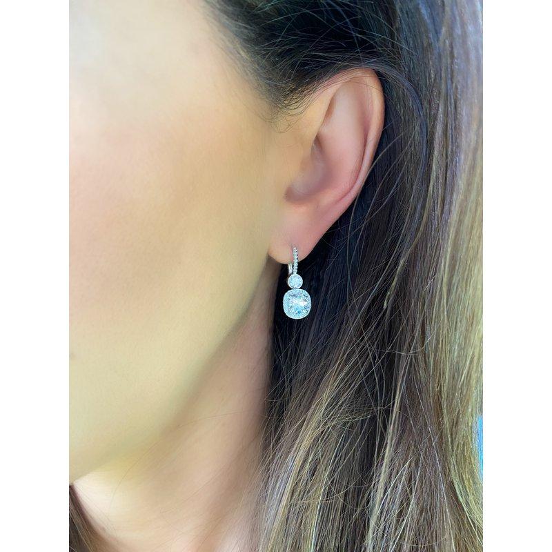Cushion Diamond Drop Earrings