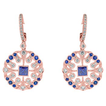 Ornate Sapphire and Diamond Drop Earrings