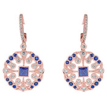 Ornate Sapphire and Diamond Drop Earrings