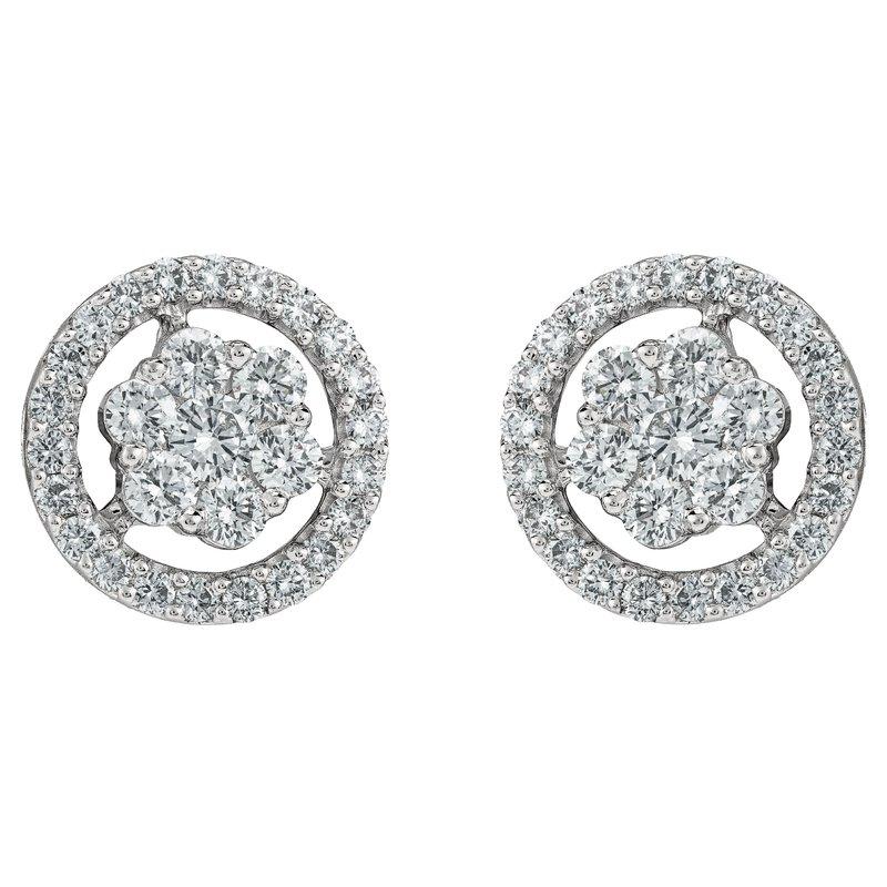 Round Floral Stud Earrings